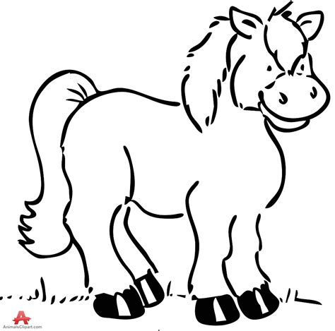 Pony Clipart Black And White