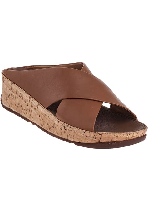Slide Sandals In Brown lyst fitflop kys slide sandal leather in brown