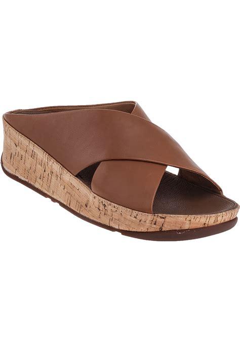 brown slide sandals lyst fitflop kys slide sandal leather in brown