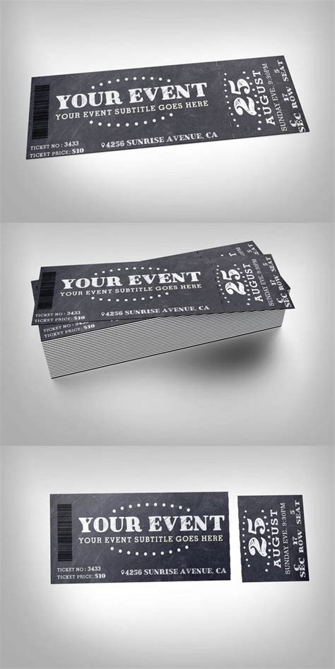 design event ticket template chalkboard event ticket design fundraisers and ticket