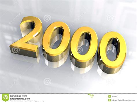 new year 2000 year of the new year 2000 in gold 3d stock illustration image of