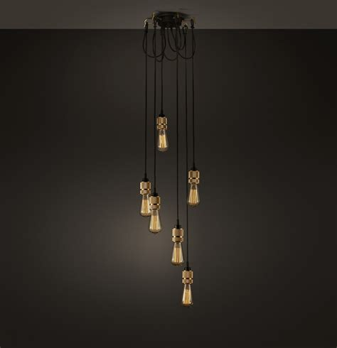 bare light chandelier hooked industrial brass 6 bare edison chandelier
