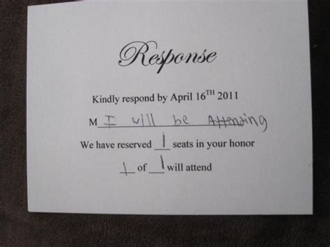 how to properly fill out a wedding response card rsvp weddingbee