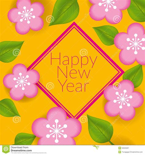 new year flower design new year greeting card design stock vector