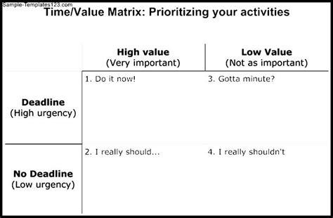 time value matrix template sle templates