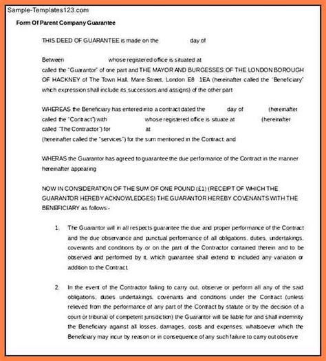 Guarantee Letter To Cover Expenses 7 Company Guarantee Letter Company Letterhead