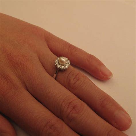 Handmade Pearl Ring - handmade royal vintage pearl engagement ring by