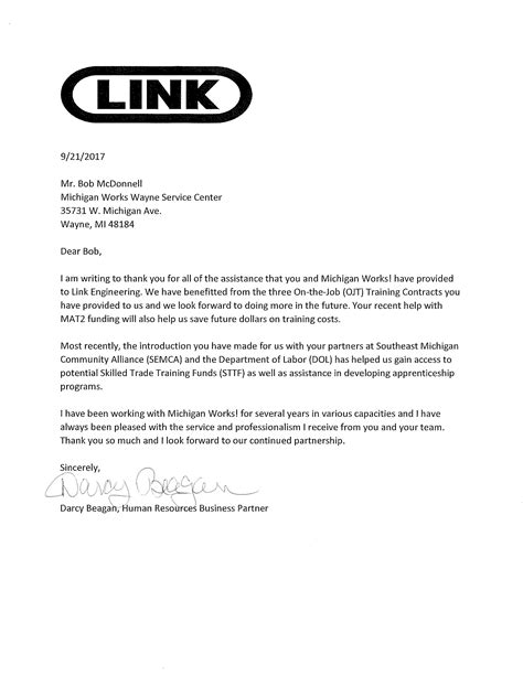 Thank You Letter Engineering thank you letter for future business partner for
