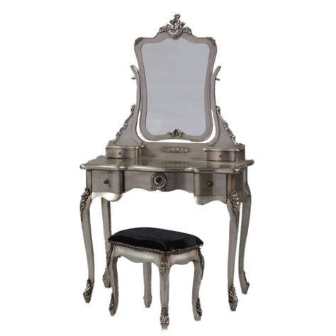 Silver Dressing Table Stool by Shabby Chic Silver Leaf Dressing Table With Mirror