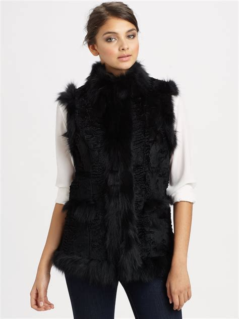Hoodie Jaket Sweater Fox glamourpuss sheared rabbit fox fur vest in black lyst