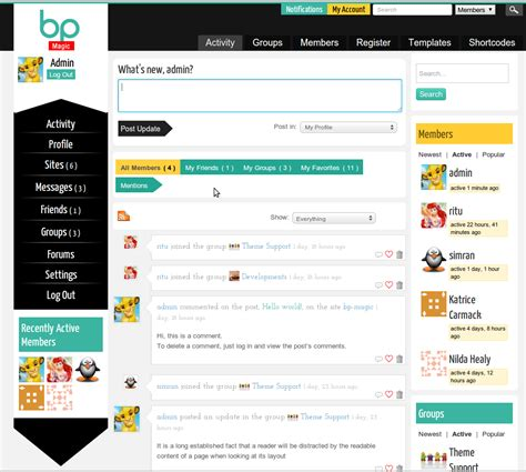 themes buddypress facebook bp magic buddypress social theme for building your social