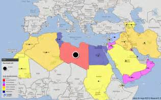 Arab World Map by World Map Of Arab World Protests Civil Revolutions By