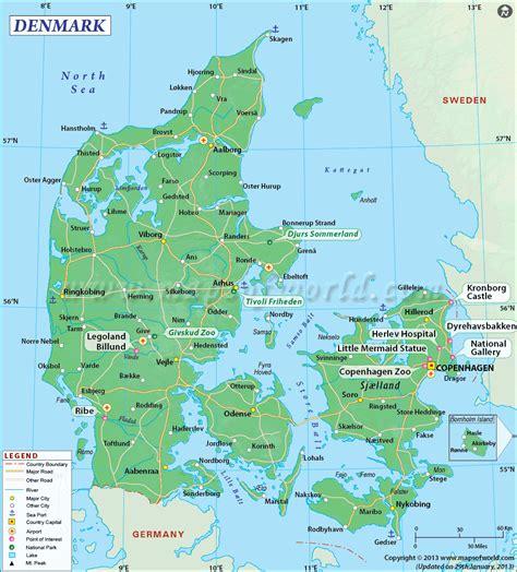 denmark on map denmark map