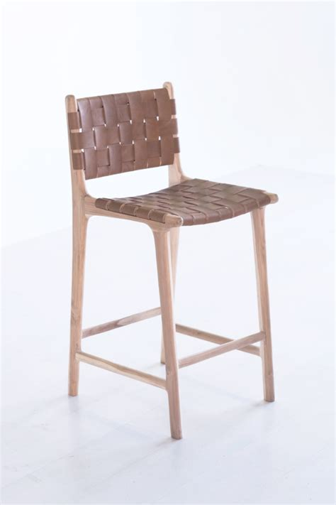 Woven Counter Height Stools by Woven Leather Bar Counter Stool Kate