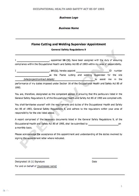 appointment letter for storekeeper cutting welding supervisor appointment letter aj