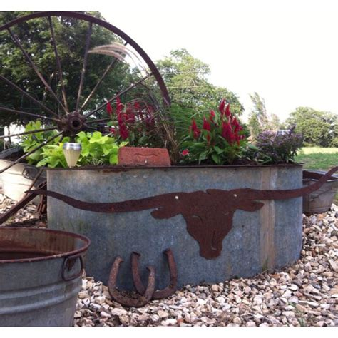 longhorn water trough planter outdoors