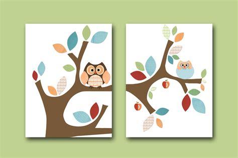 Owl Room Decor Neutral Nursery Canvas Baby Print Wall Owl Nursery