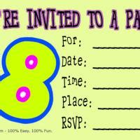 8th birthday party invitation