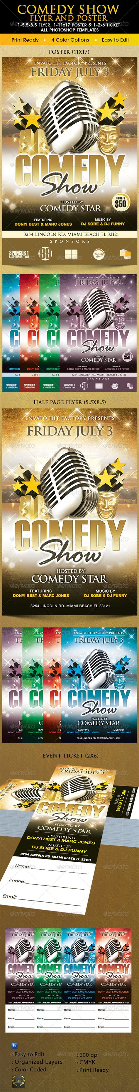 Comedy Show Poster Flyer And Ticket Template By Godserv On Deviantart Comedy Show Ticket Template