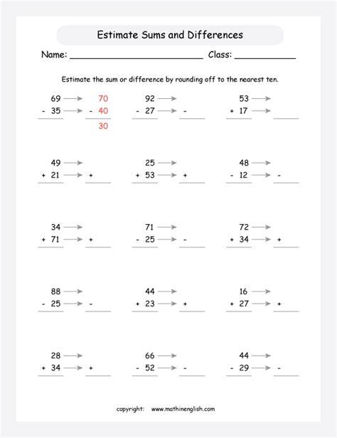 free printable math worksheets estimating sums estimating addition and subtraction worksheets worksheet