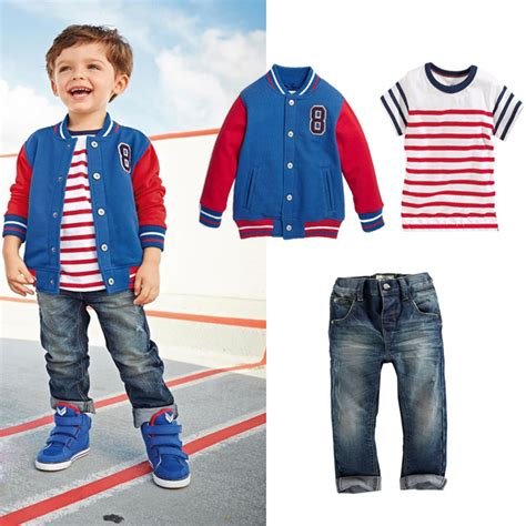 2015 baby boy clothes baseball jacket striped t