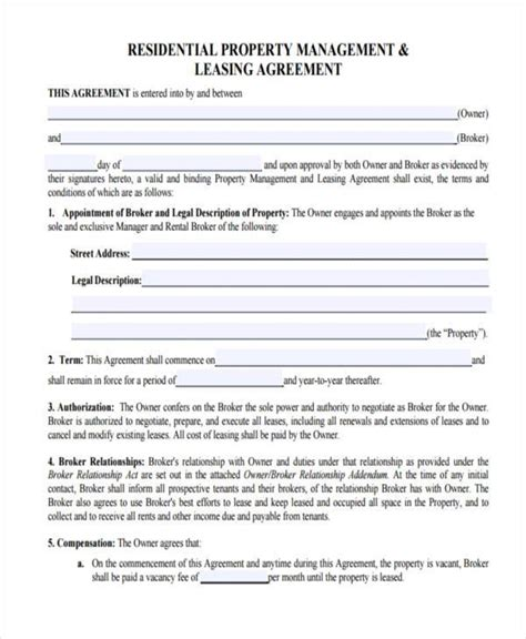 property management agreement template free property management agreement free copy rental lease
