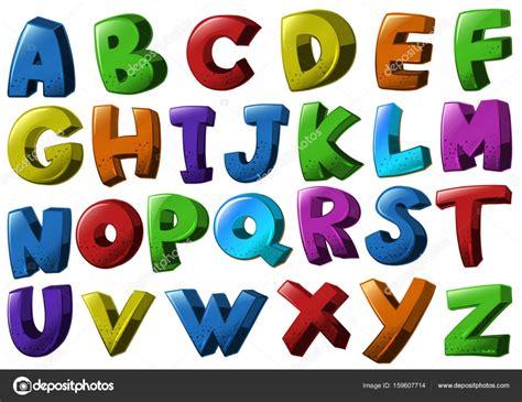 caratteri diversi caratteri alfabeto inglese in diversi colori vettoriali