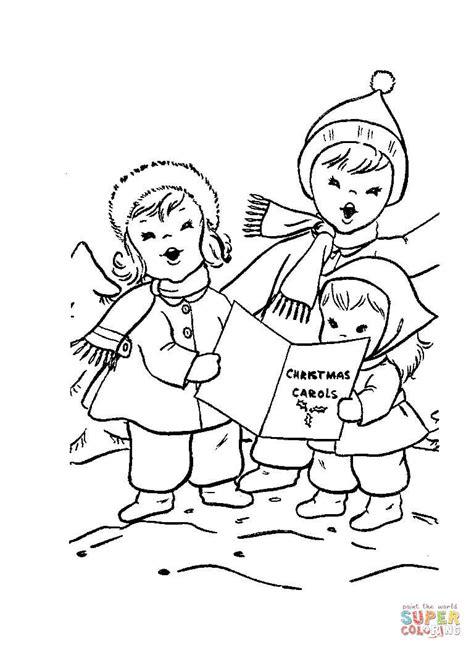 Ausmalbild: Kinder singen Weihnachtslieder   Ausmalbilder