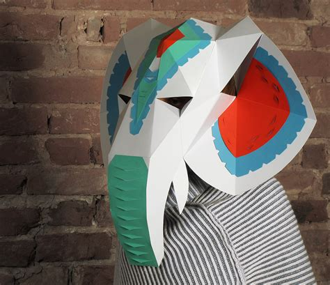 Papercraft Costumes - elephant mask with mask decor diy paper
