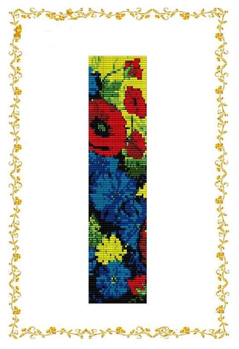 bead loom flower patterns loom beading pattern bracelet poppies and cornflowers