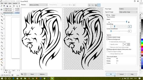 corel draw x7 trace converting low quality vector drawing to high quality