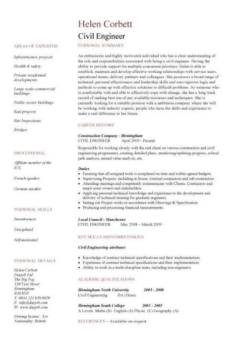 Engineering Resume Templates by Civil Engineering Cv Resume Template Http