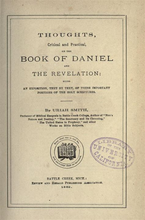 daniel and the revelation the response of history to the voice of prophecy a verse by verse study of these important books of the bible classic reprint books the prophecies of daniel and the revelation by uriah smith