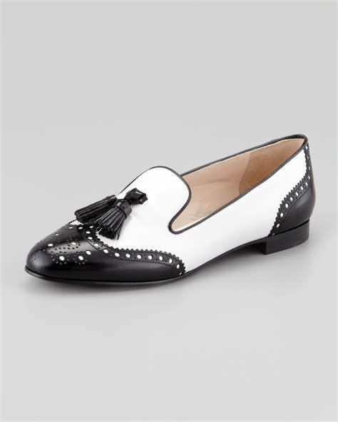 black white loafers lyst prada spazzolato wingtip tassel loafer in white