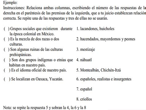 preguntas de historia de mexico con opcion multiple reactivos de apareamiento o relacional dennise partida