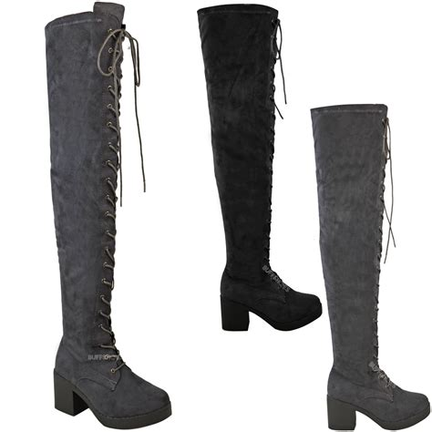 women s lace up biker boots womens ladies over the knee boots lace up block heel thigh