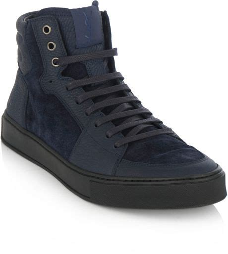 ysl mens sneakers laurent ysl stitch hightop trainers in blue for