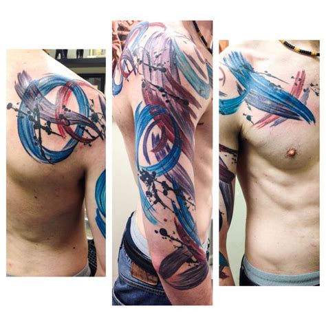 tattoo pain on arm full sleeve shoulder blade and chest of paint splatter
