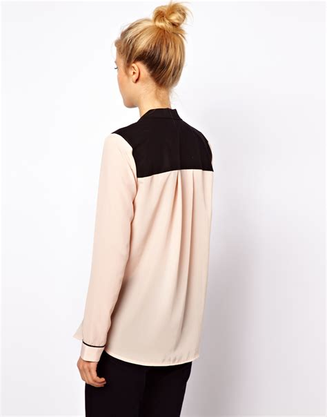 Vanila Blouse By Naura lyst asos blouse with tuxedo collar in colourblock in