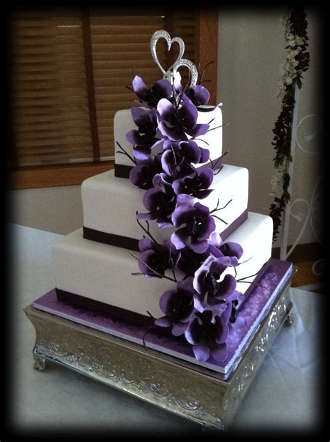 Purple Sugar Orchid Wedding Cake   CakeCentral.com