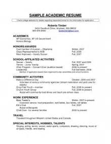 Academic Resume Template For College by Fill In Information For Resume