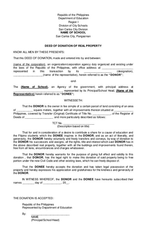 usufruct agreement template deed of donation for real property