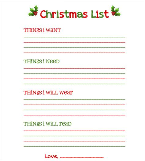 wish list template 27 gift list templates free printable word