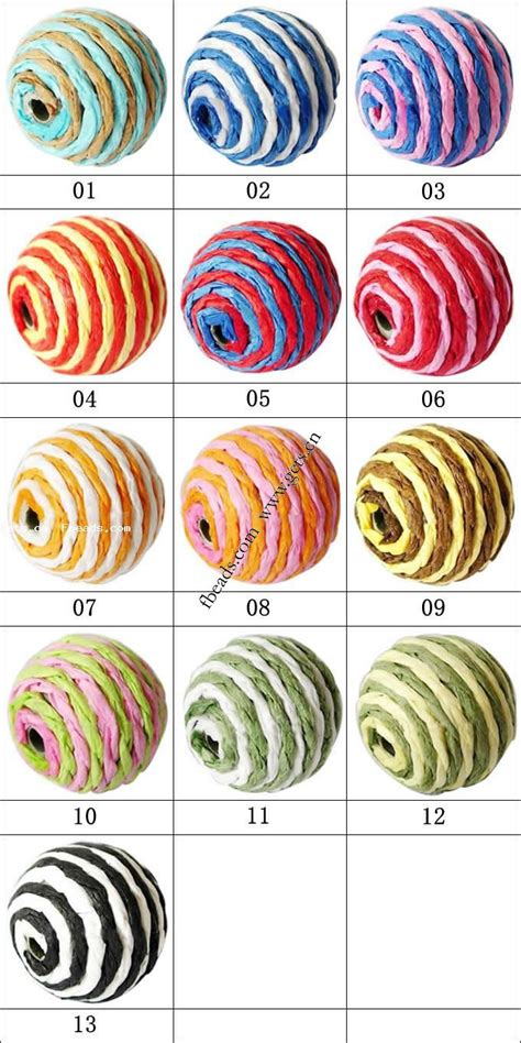 kraft paper woven beads with acrylic round woven pattern