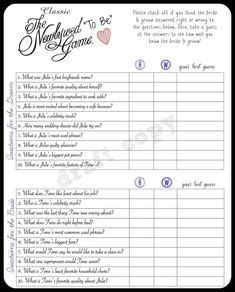bridal shower newlywed questions pin printable questions newlywed on