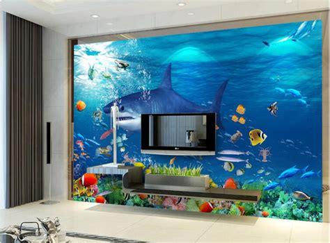 3d Wall Sticker 15968269 3d wallpaper custom mural non woven wall sticker 3 d sea world sharks eat small fish painting
