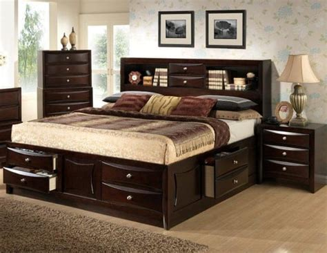 King Storage Bed With Bookcase Headboard by Large Drawer Storage Bed With Bookcase Headboard