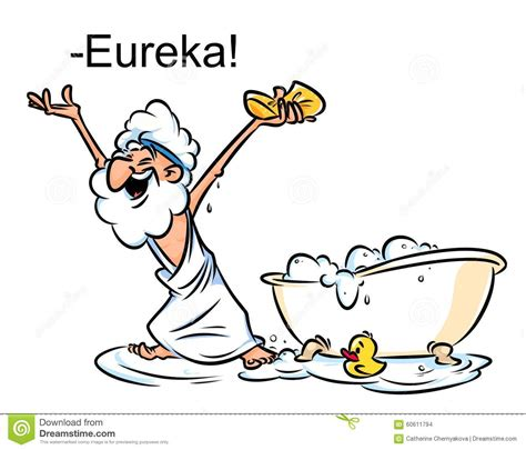 bathtub eureka archimedes eureka swimming bath cartoon illustration stock