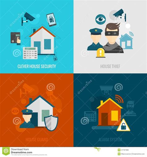 home security flat set stock vector illustration of guard