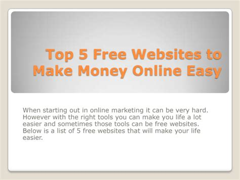 Sites To Make Money Online - top 5 free websites to make money online